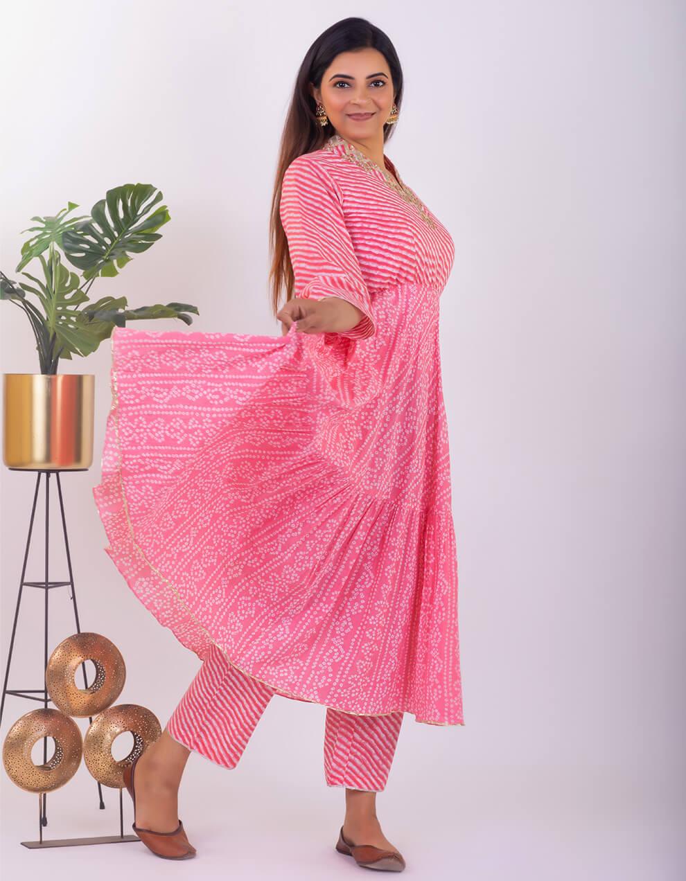 Light Pink leheriya cotton Pants
