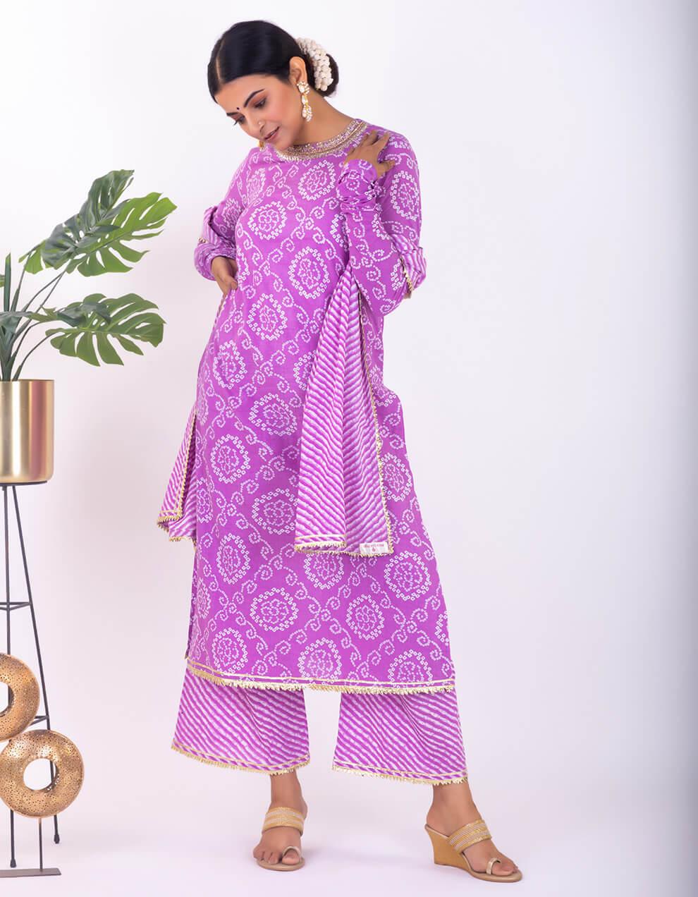Purple hand embroidered bandhani cotton kurta with palazzo and dupatta- Set of 3