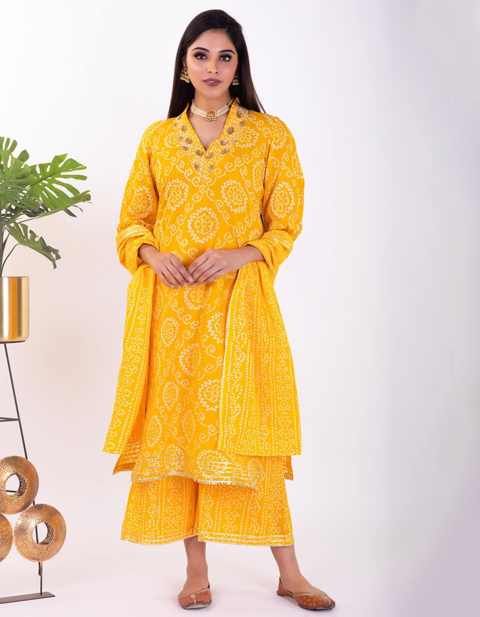 Yellow hand embroidered bandhani cotton kurta with palazzo and dupatta- Set of 3