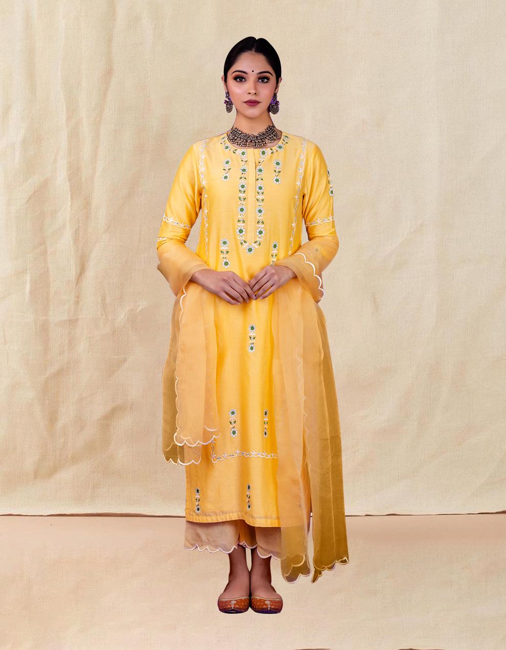 Yellow embroidered chanderi silk kurta with silk palazzo and organza dupatta- Set of 3