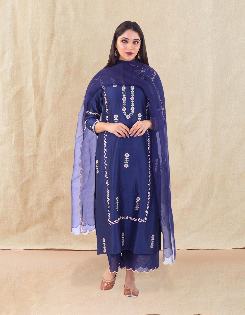 Blue embroidered chanderi silk kurta for sale in India