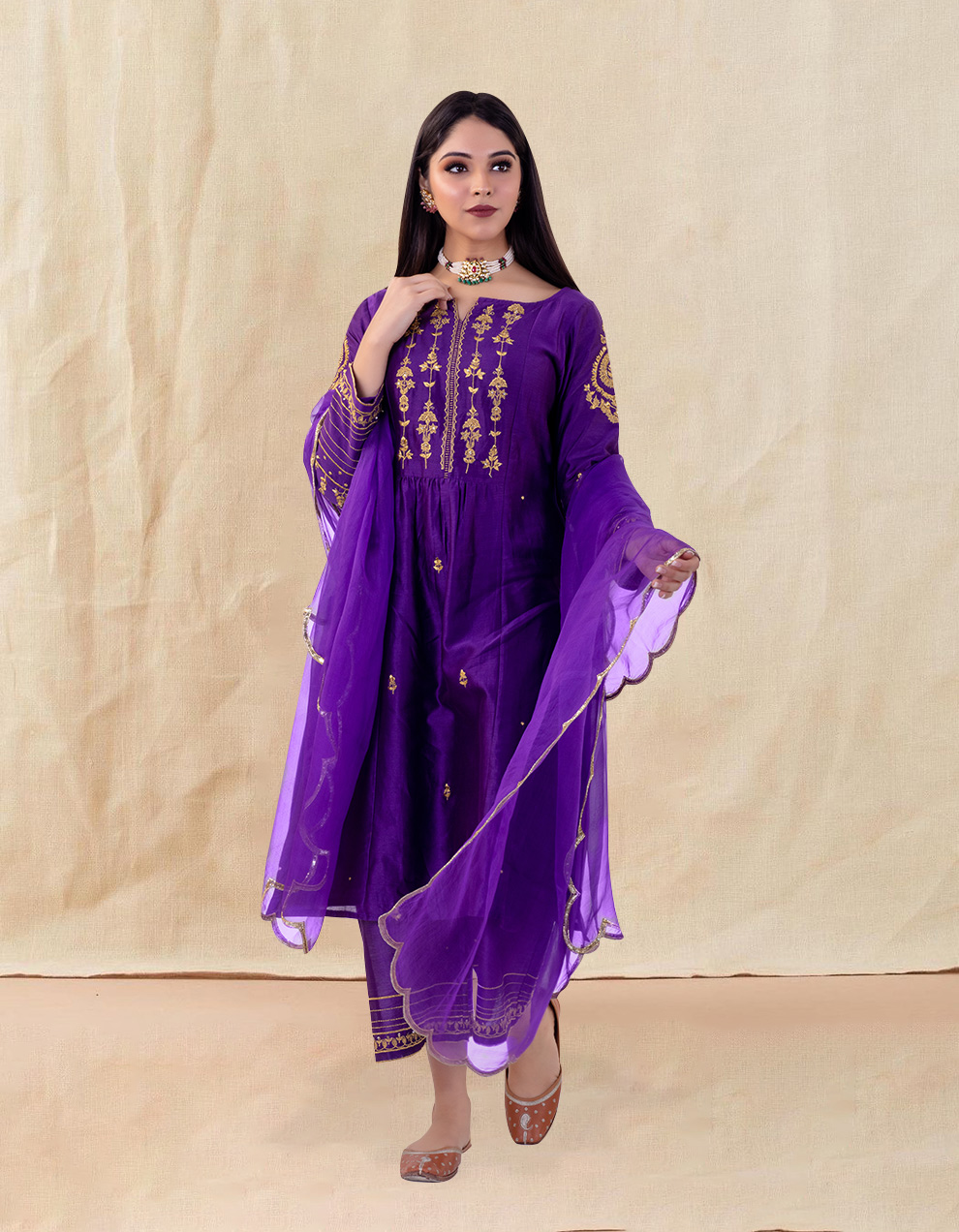 Purple hand embroidered chanderi silk kurta for sale in India