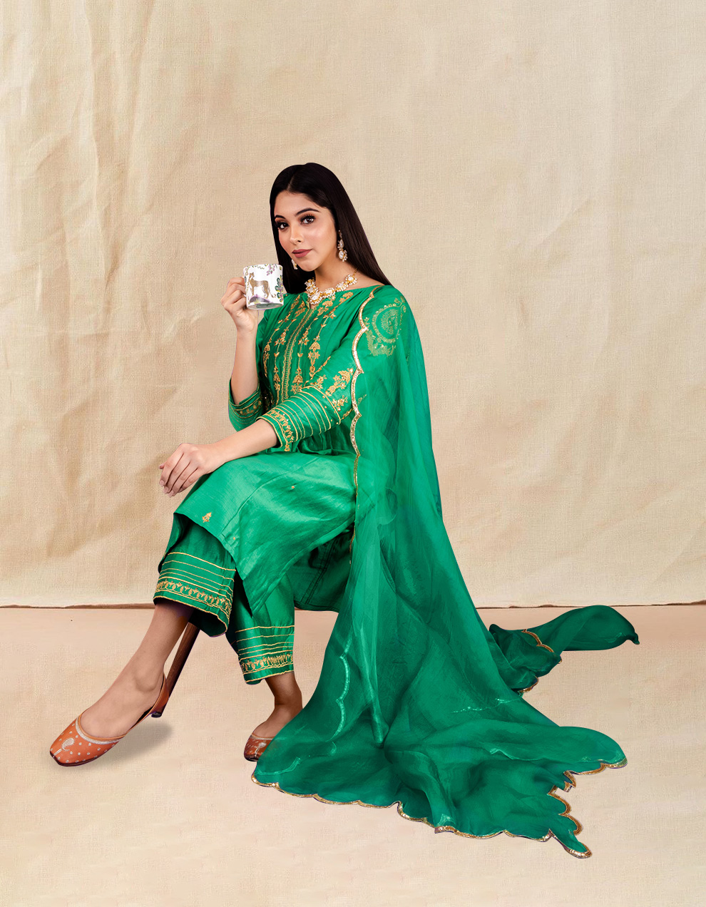 Green hand embroidered chanderi silk kurta for sale in India