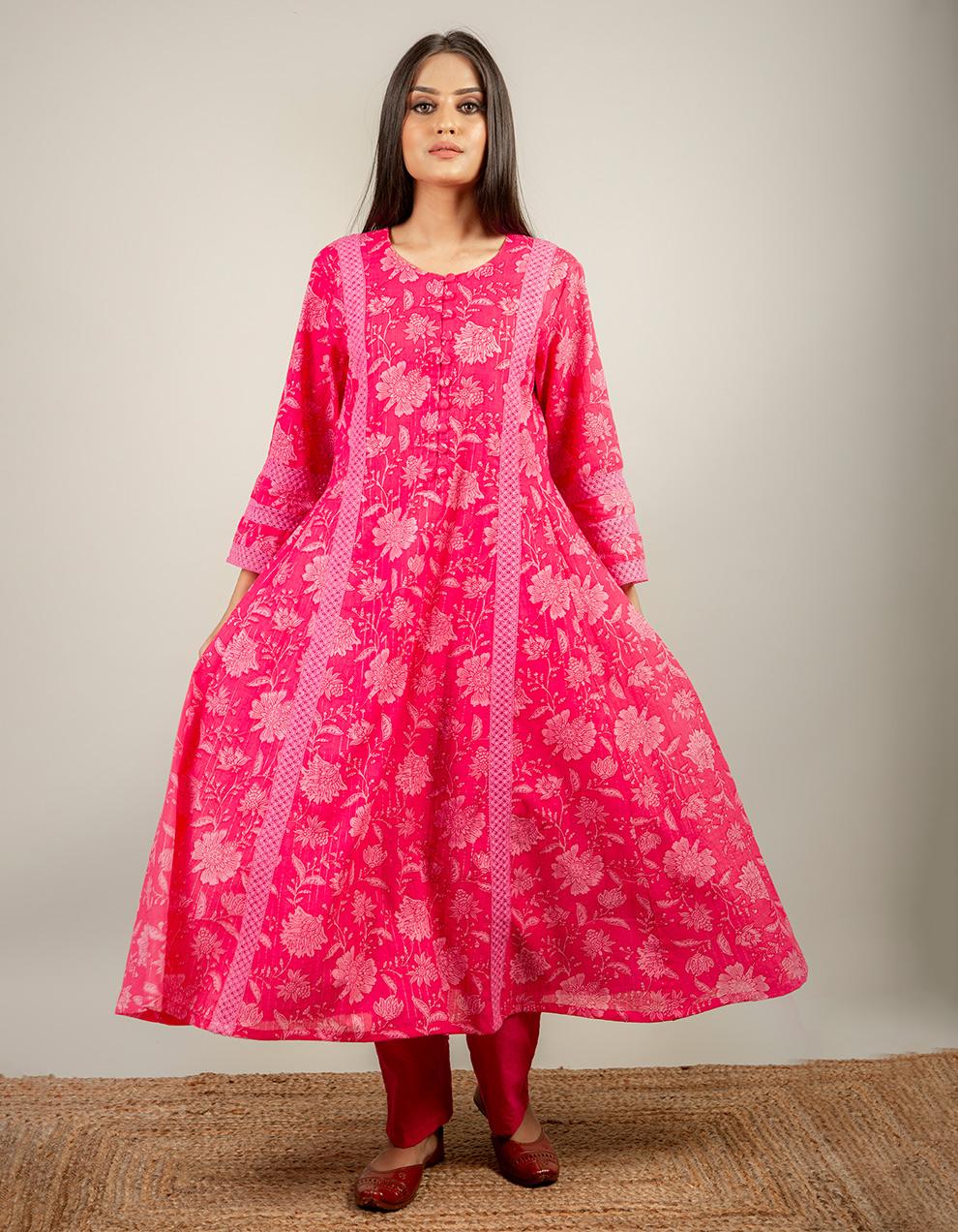 Pink Color Kurta with pants