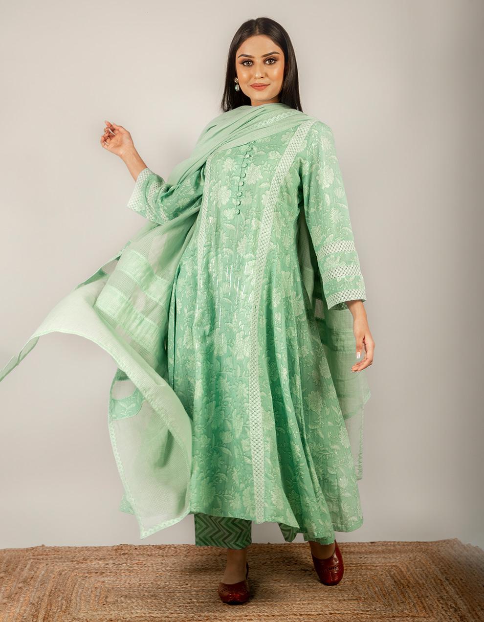 green color cotton kurta with pants and dupatta.