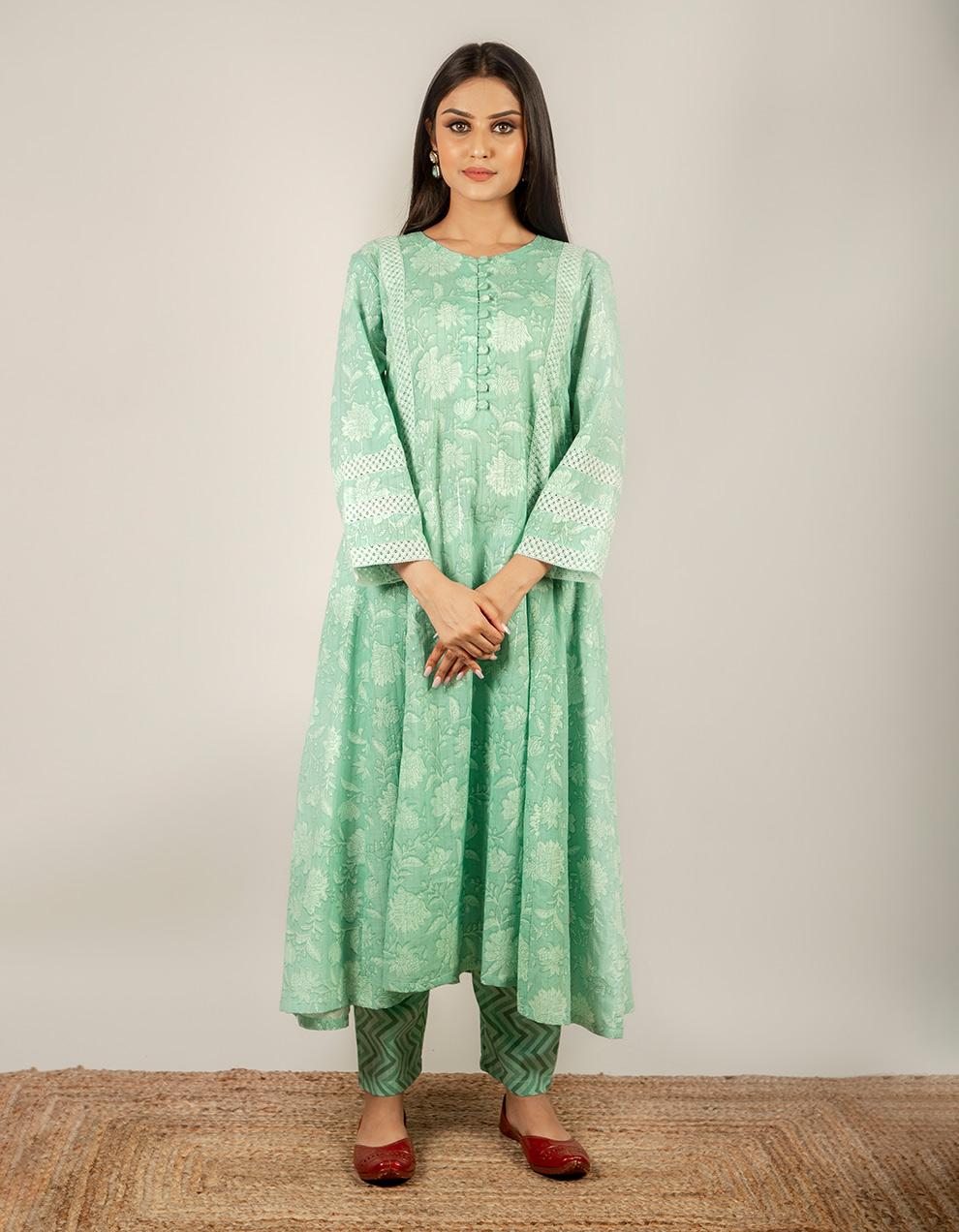 green color cotton printed kurta with pants