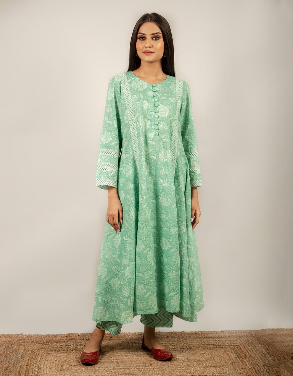 green printed cotton pants design
