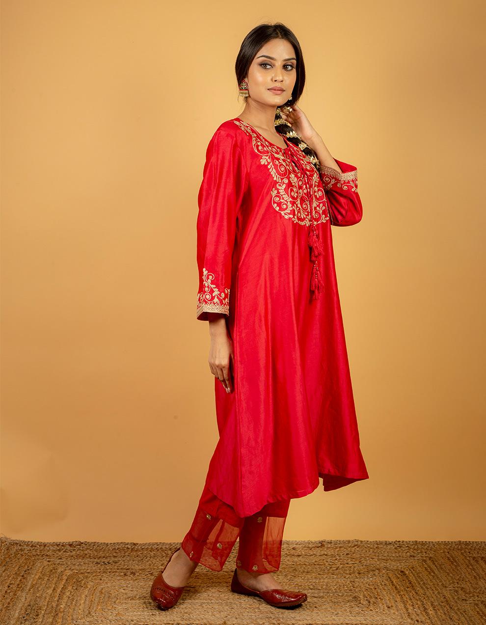Beautiful rose pink color silk kurta for ladies