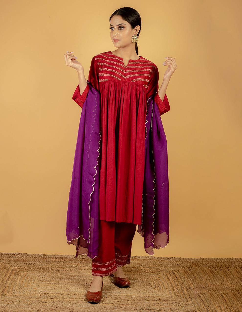 Maroon red kurta with silk pants
