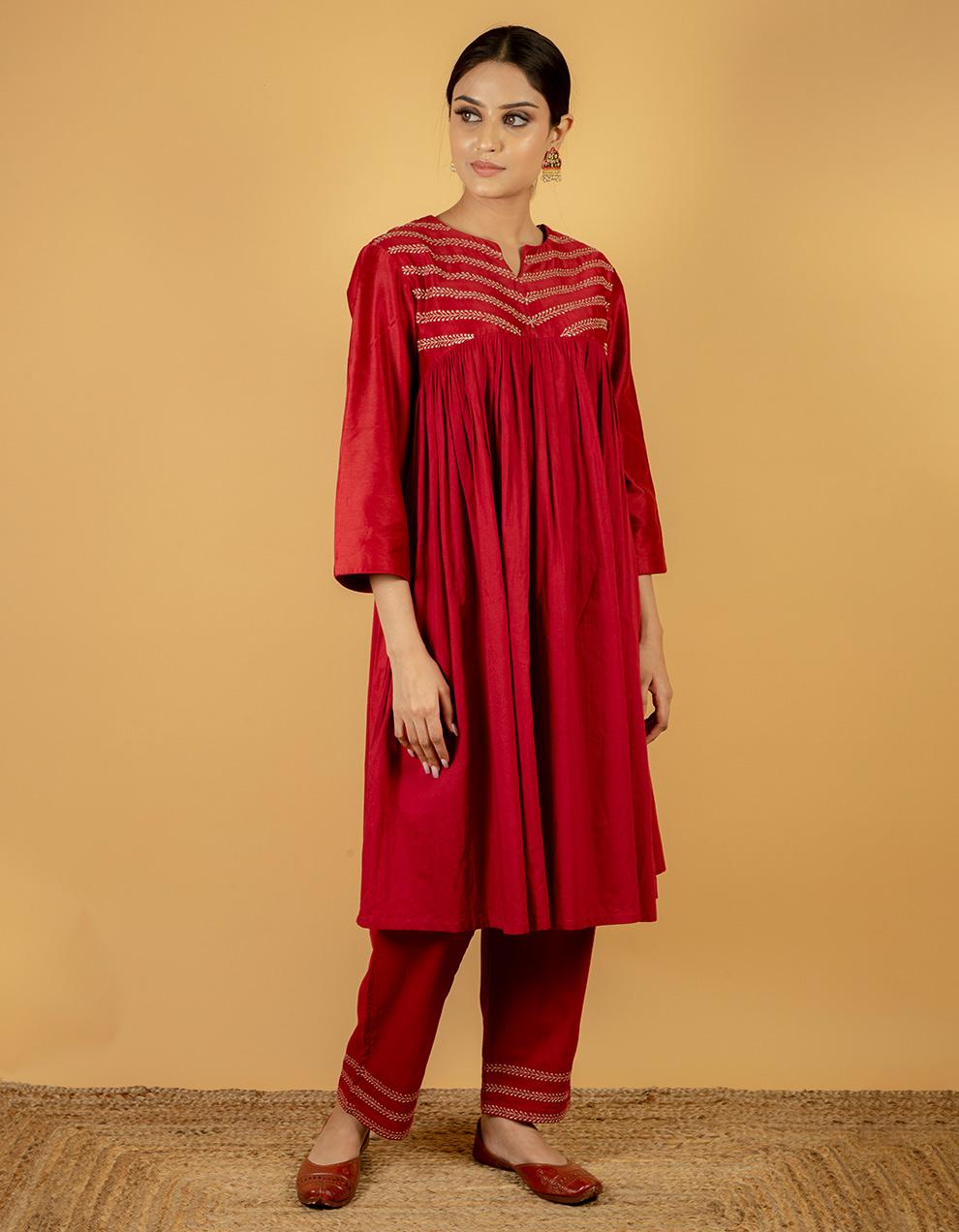 Maroon red kurta designs