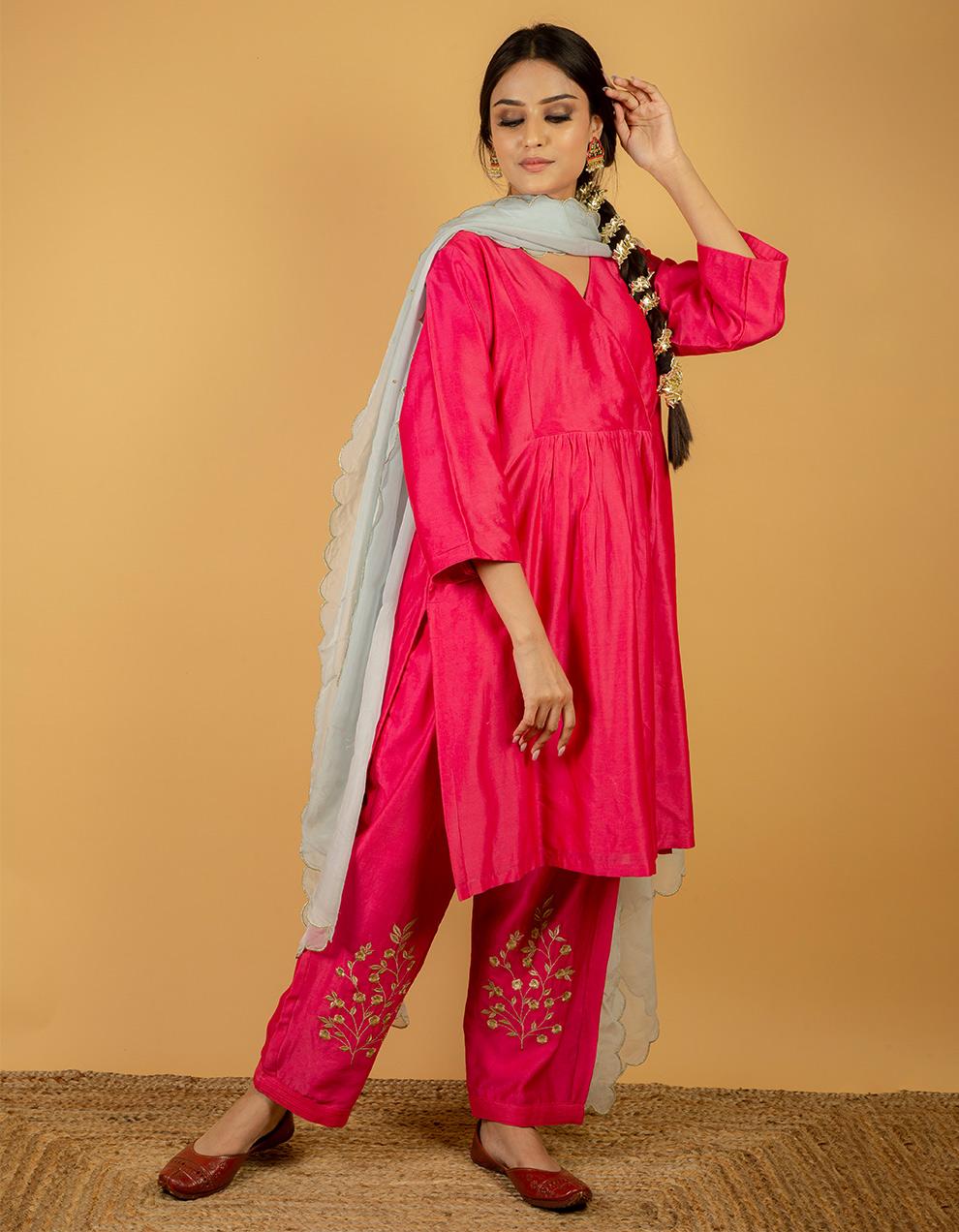 Silk kurta with pants and organza dupatta
