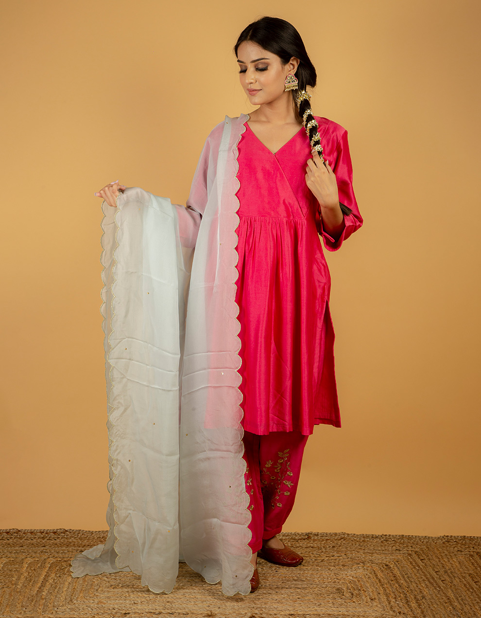 affordable organza dupatta for sale in India. Powder blue color organza dupatta designs for ladies.