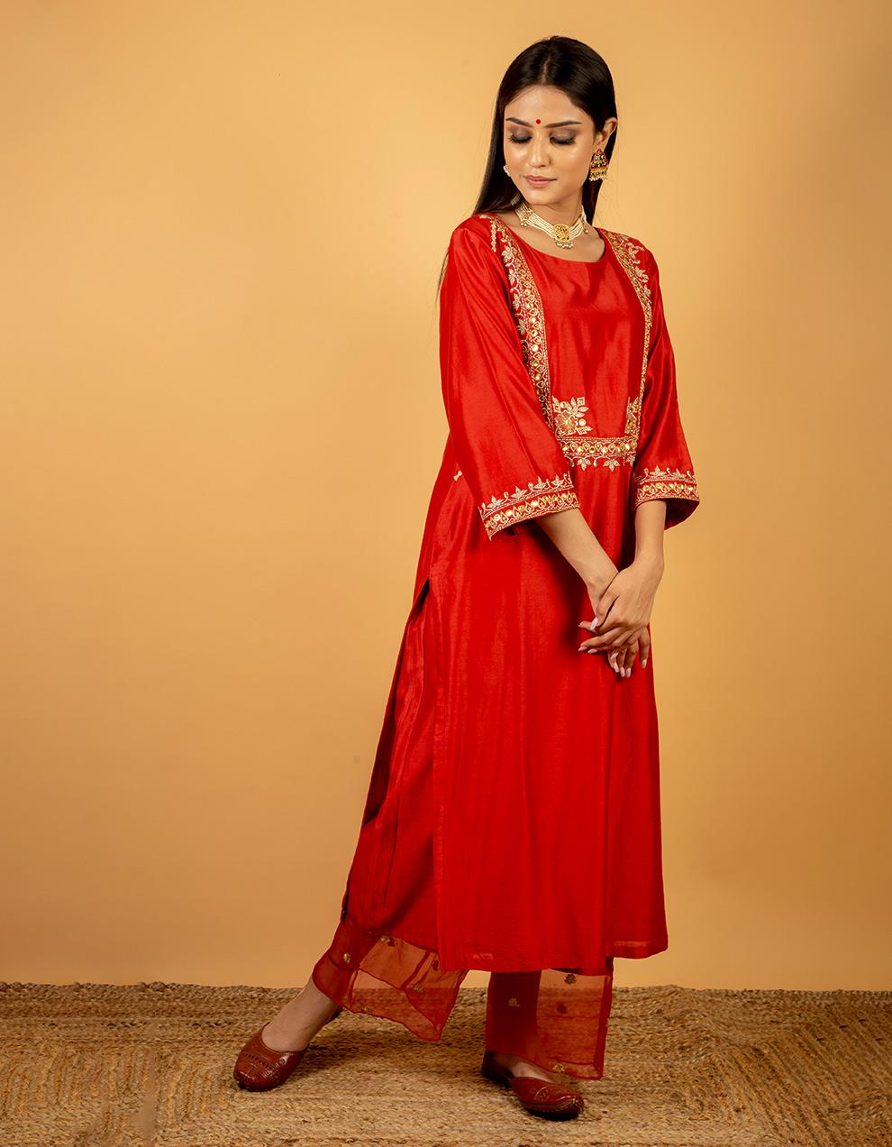 Latest Velvet Red chanderi silk kurta with silk pants