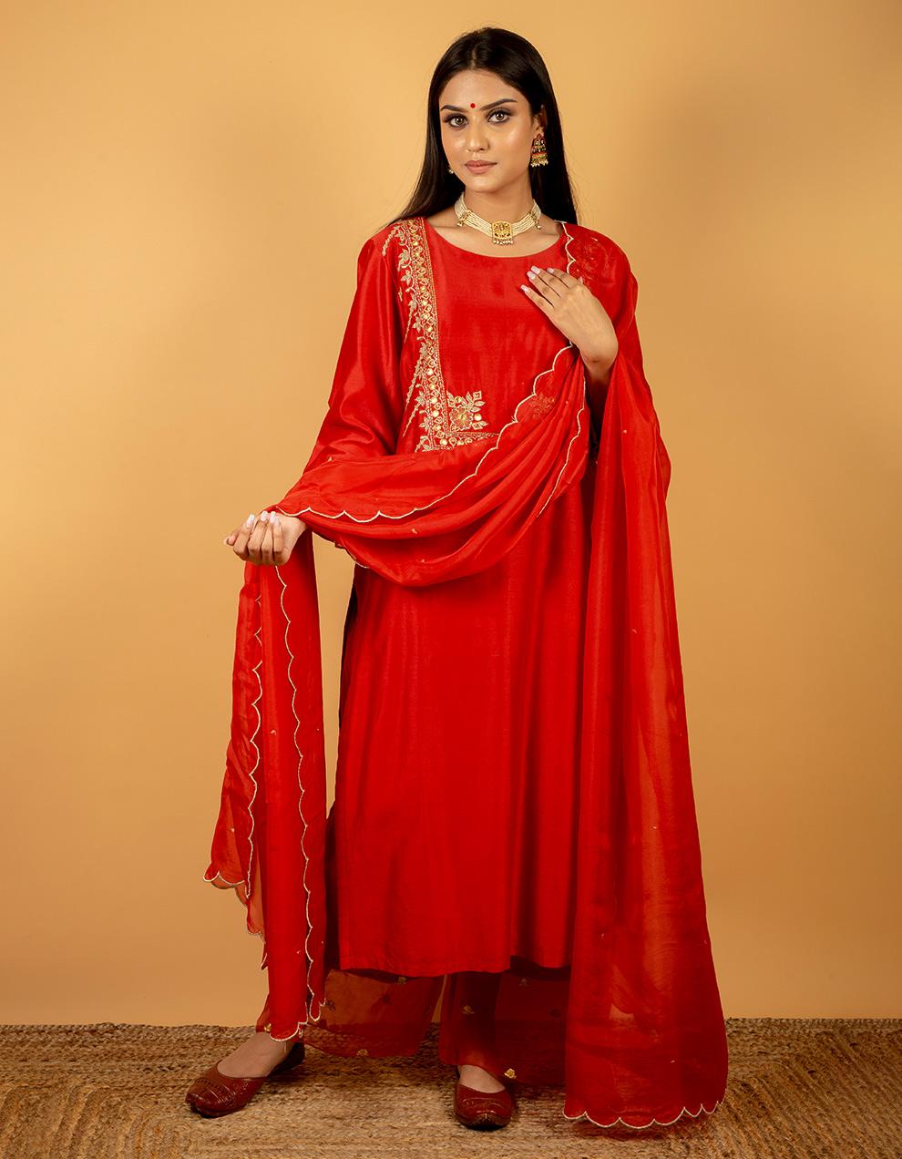 Velvet red dupatta designs for sale in India