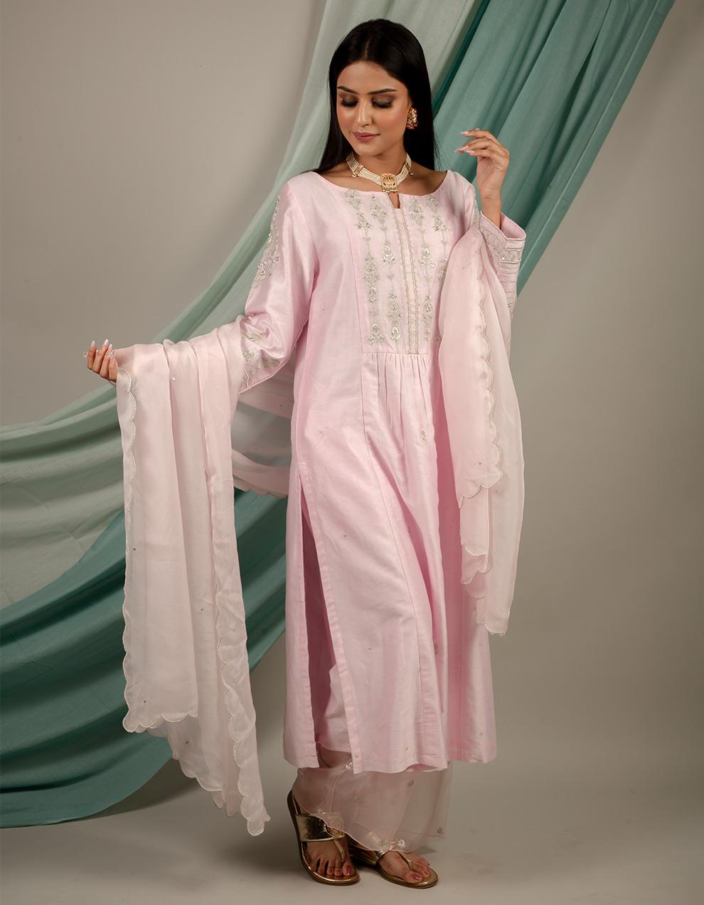 Buy best silk kurta with silk pant and organza dupatta