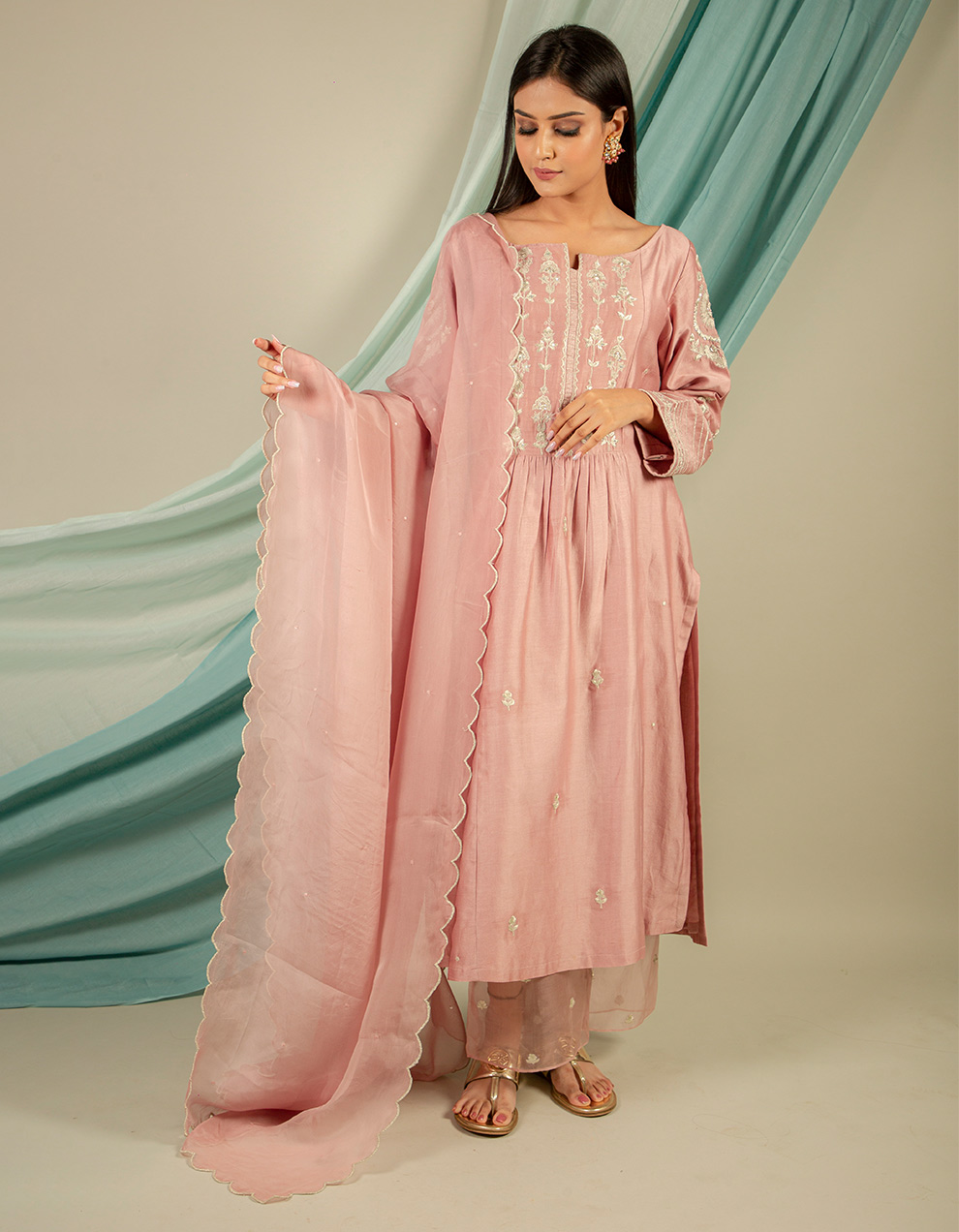 Buy best old rose silk pant and organza designers