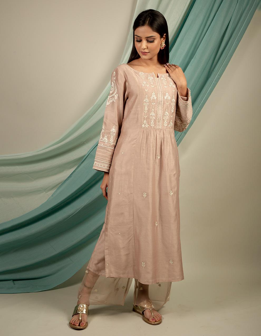 silver brown chanderi silk pants designs online from top brands at best price